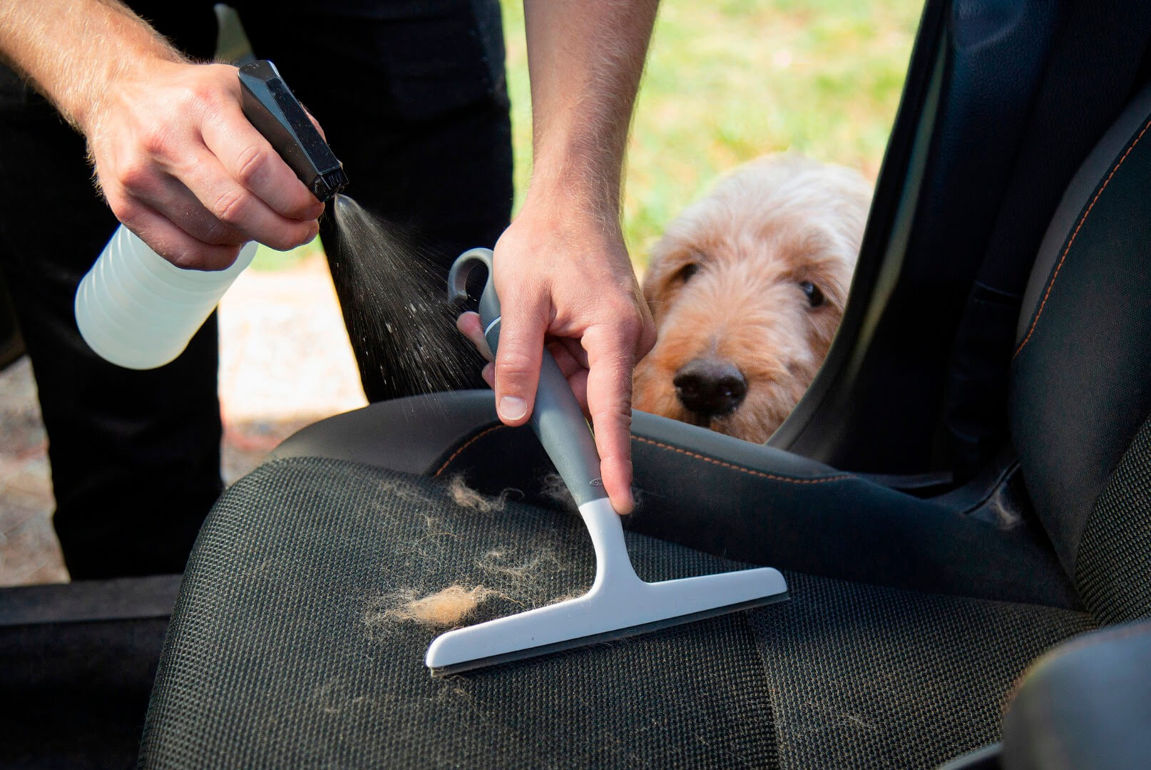 Someone spraying their car seat with water to help brush dog hair out of the car seat.